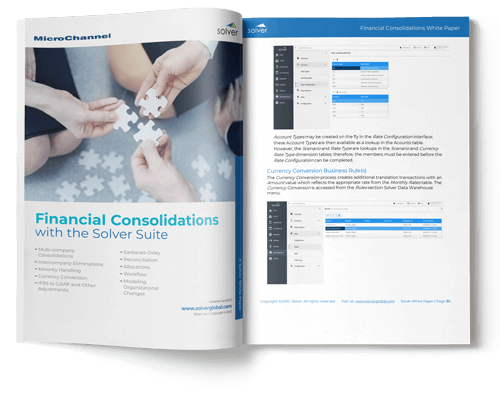 financial consolidations with solver